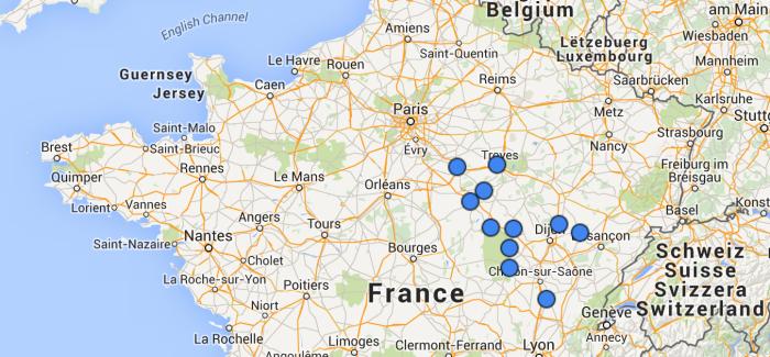 Carte des aérodromes ULM visités
