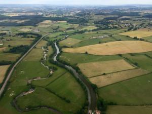 Montceau-les-Mines au loin -Bourgogne France - Vue aérienne