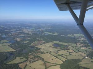 Vue aérienne de la région des 1000 étangs